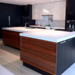 Contemporary Kitchen: High gloss white and carob ash in perimeter; American apple and carob ash on Island.